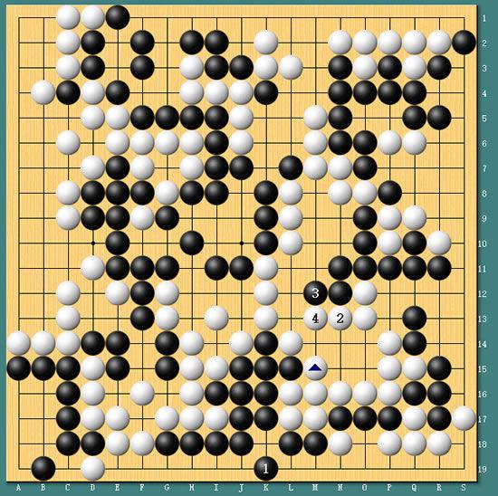冒险岛2 告白气球谱子-图6:接上图,黑1补活不得已,否则白1立下,局部黑棋气紧,正好无