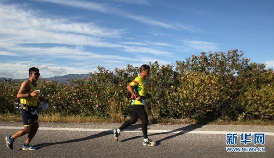 第3届希腊极限马拉松开跑,全程255KM陈盆滨参赛。