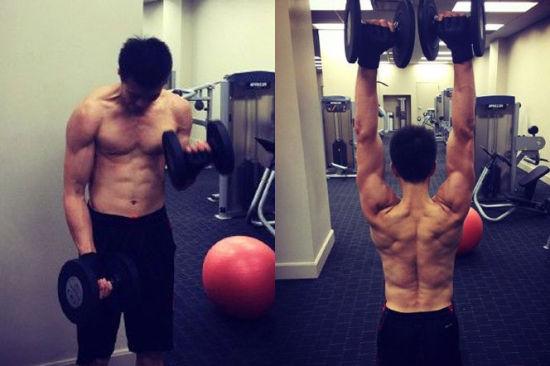 郭艾伦微博秀的肌肉图。