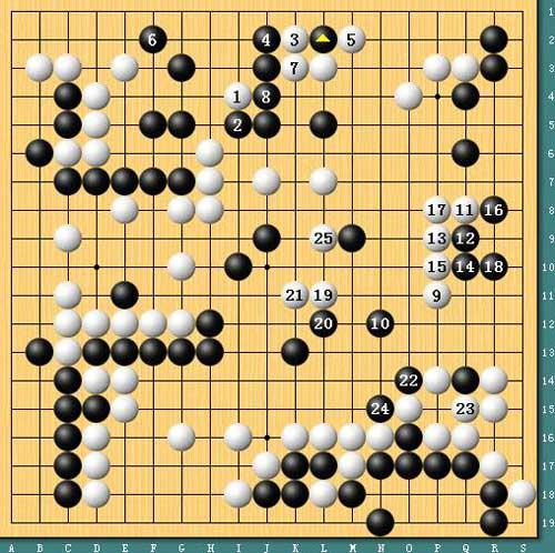 黑鸭子军人本色合唱谱-图五,胜局已定.黑三角位托是局部好手,白1反击恰到好处,至白5黑