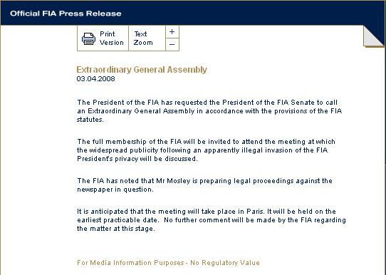 莫斯利就私生活丑闻一事申请召开国际汽联特别会议