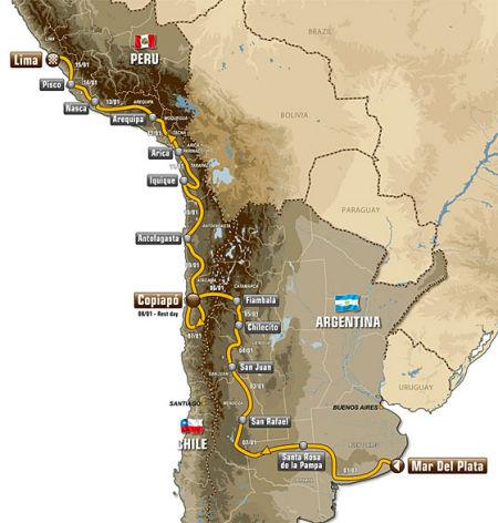 2012年达喀尔拉力赛路线图