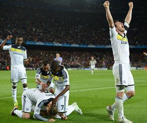 欧冠-梅西失点托雷斯破门10人切尔西2-2淘汰巴萨