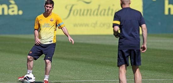 梅西再次进行有球训练