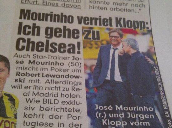 《图片报》称,穆里尼奥告知克洛普他下赛季会执教切尔西