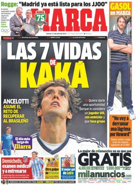 周四《马卡报》透露,有七条命的卡卡将再留皇马一年