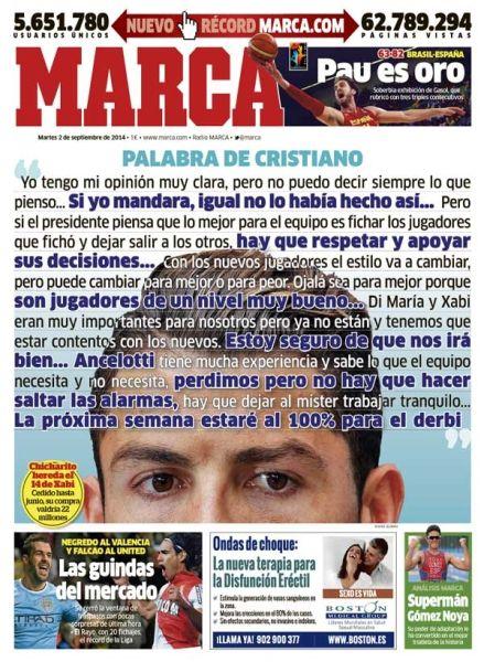 9月2日,《马卡报》将C罗的讲话印上了头版