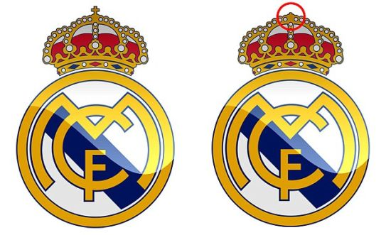 皇马略微改动了队徽,左图为皇马队徽,右图为改动后的队徽