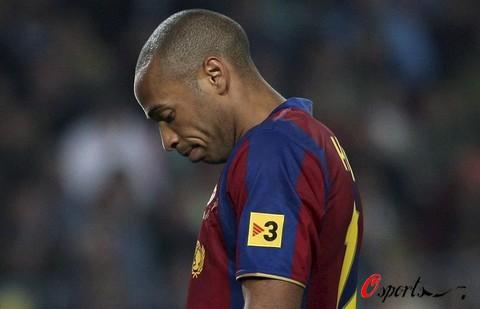 图文-[西甲]巴塞罗那0-0赫塔菲亨利的表情略显伤感