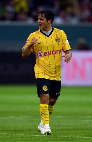 图文-[德超级杯]拜仁1-2多特蒙德哈伊瑙尔庆祝进球