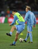 乌拉圭球员赛前热身