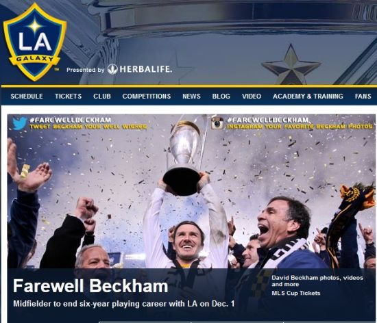 洛杉矶银河官网截屏:再见贝克汉姆
