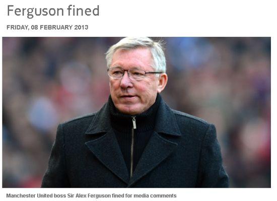 英足总公布对弗格森的处罚结果