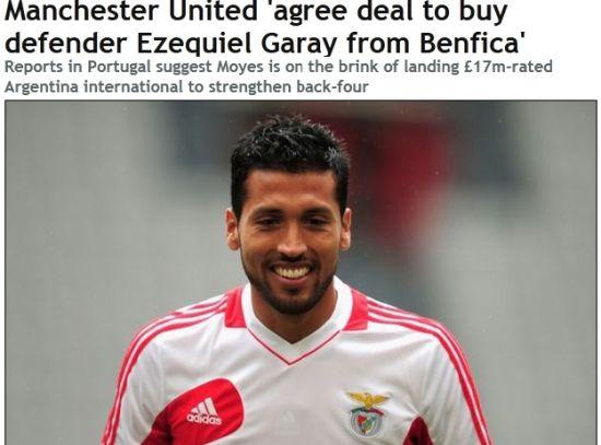 《镜报》截屏:曼联购本菲卡后卫加雷已达协议