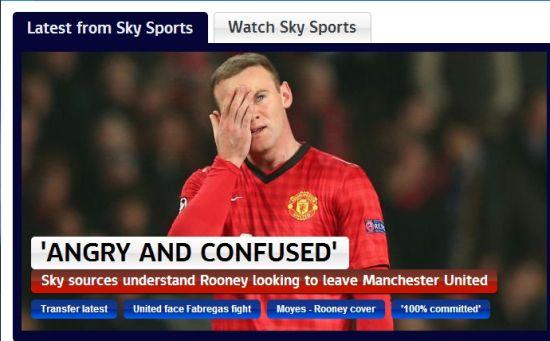 天空体育表示鲁尼很愤怒和困惑
