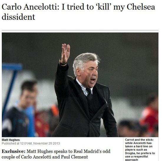 《泰晤士报》独家采访安切洛蒂:想杀了切尔西的一个人