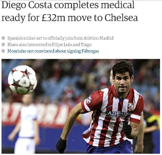 迭戈科斯塔完成体检,即将转会切尔西