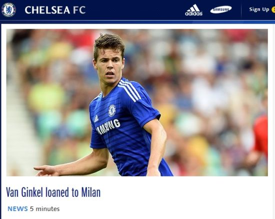 切尔西官网宣布范金克尔租借AC米兰一个赛季