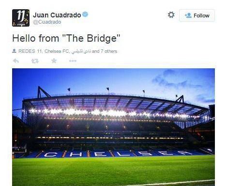 夸德拉多发推特:来自斯坦福桥的问候