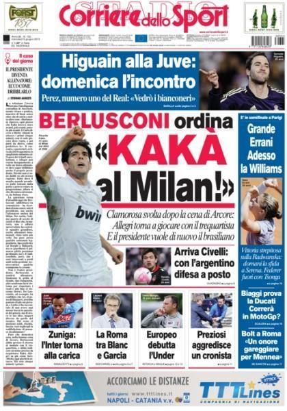 《罗马体育报》今日头版:老贝要求买卡卡