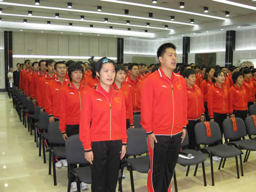 图文-智运会中国代表团成立中国队集体高唱国歌