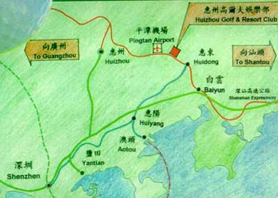 广东惠州高尔夫度假俱乐部位置图