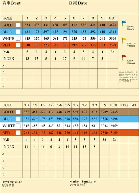 四川成都麓山国际高尔夫俱乐部球道数据