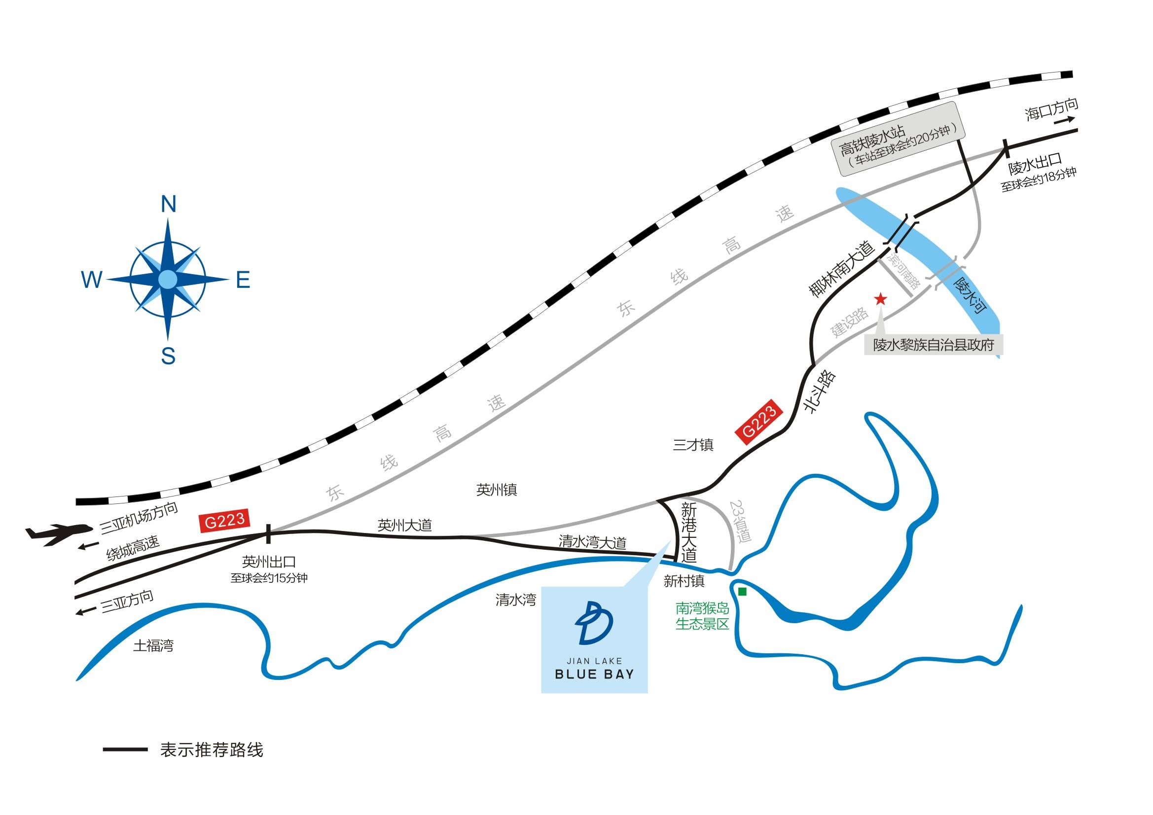海南鉴湖蓝湾高尔夫球会位置图示