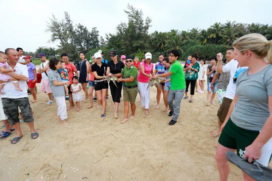 三亚女子公开赛球星们将两只海龟放生