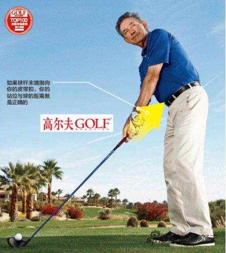 如果球杆末端指向 你的皮带扣,你的 站位与球的距离就 是正确的