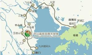 广东中山温泉高尔夫球会位置图示