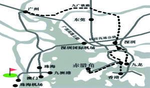 珠海金湾高尔夫球俱乐部位置图示