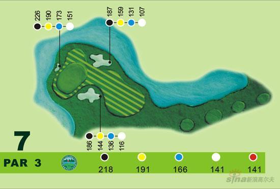 图文-宝鸡都市高尔夫俱乐部球道图第七洞