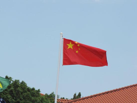 图文-汇丰女子冠军赛次轮 会所前飘扬五星红旗