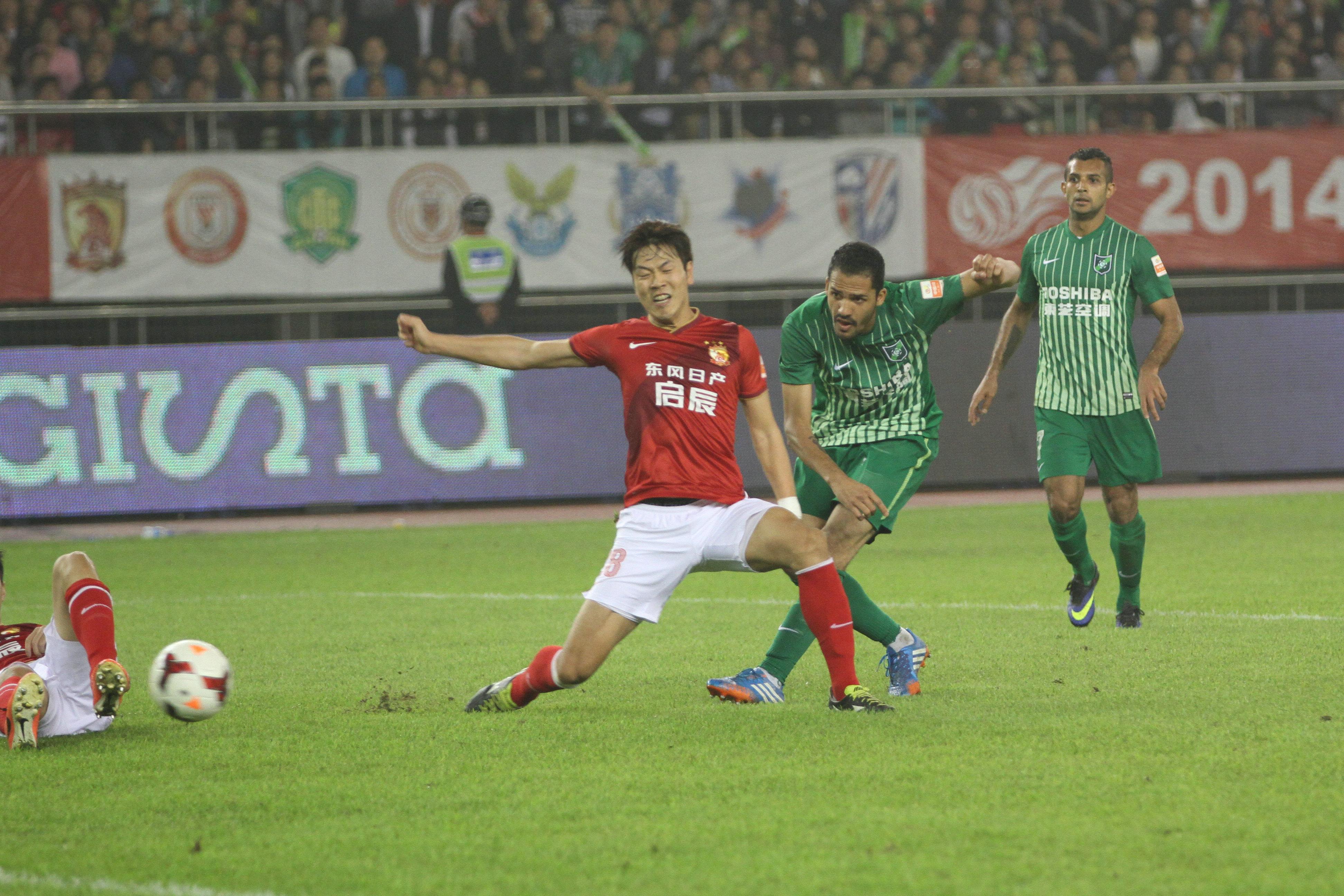 2014年5月18日,杭州绿城与广州恒大比赛。