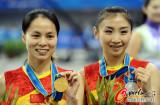 女子蹦床中国包揽金银