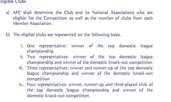 亚足联关于亚冠参赛资格规定