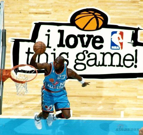 NBA老照片-乔丹引领全明星阵容一起说我爱这比赛