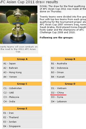 2011亚洲杯预选赛抽签中国越南叙利亚黎巴嫩同组