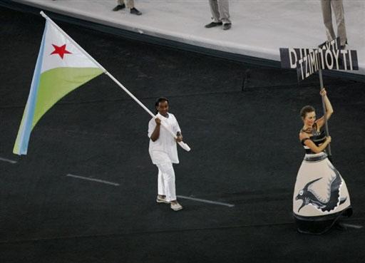 资料图-雅典奥运会开幕式 非洲吉布提代表团入场