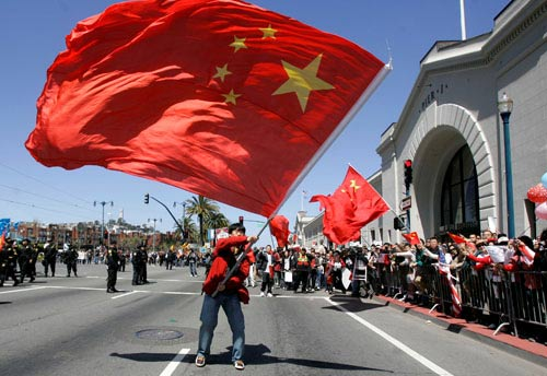 旧金山火炬传递现场:华人气势完全压制