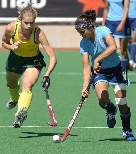 资料图片-澳大利亚女子曲棍球名将安吉-兰伯特