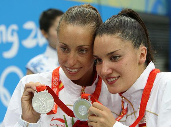 资料图片-奥运会花样游泳双人银牌得主西班牙组合