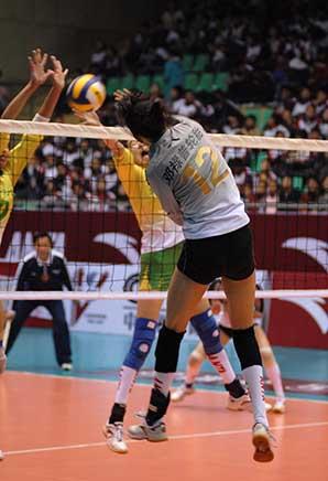 08-09赛季全国女排联赛A组第17轮:江苏2比3负上海