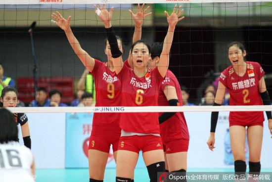 中国女排高拦网