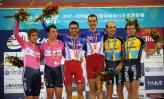 图文-自行车世界杯赛男子麦迪逊赛法国队夺冠领奖