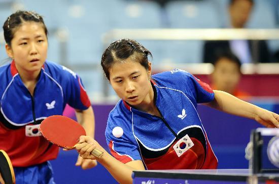 图文-国际乒联总决赛女双决赛韩国选手获得亚军