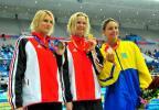图文-中国游泳公开赛2日 女子50米自由泳前三名