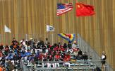 图文-MLB中国赛首场教士3-3道奇看台上的中美国旗