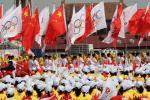 图文-奥运火炬接力在天安门启动 国旗会旗交相辉映